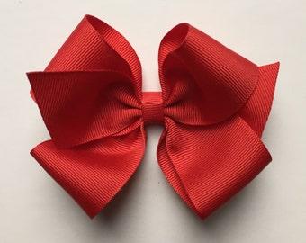 Red hair bow, girls hair bow, toddler hair bow, baby hair bow, large bows, large hair bow, girl hair bow, red bow, plain bow