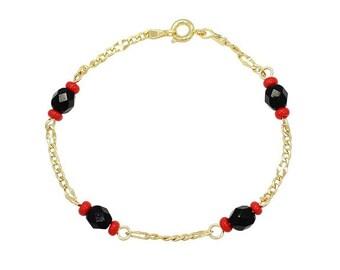 Gold Plated Azabache Bracelet, Gold Filled Bracelet azabache, Azabache Bracelet, Good luck Bracelet, Lucky Charm