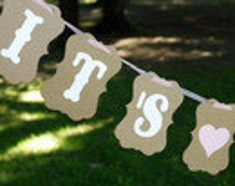Vintage, pennant chain it's a girl, Babyshower baby