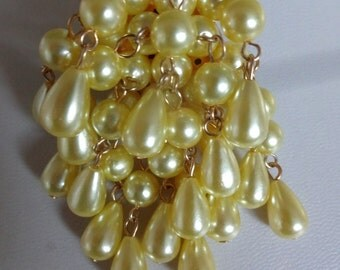 Vintage Yellow Pearl Waterfall Brooch, yellow brooch