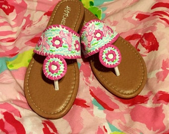 Lilly Pulitzer Inspired Hand Painted Sandals