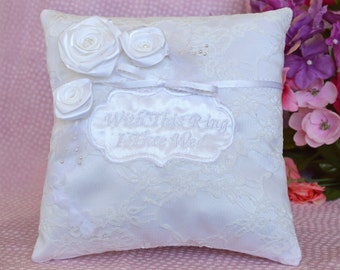 with this ring i thee wed embroidered traditional roses lace white satin ring bearer pillow - With This Ring I Thee Wed