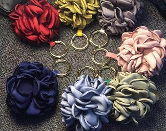 Silk Flower Purse Charm Cute Unique Flowers Women Handbag Tote Accessories Floral Keychains