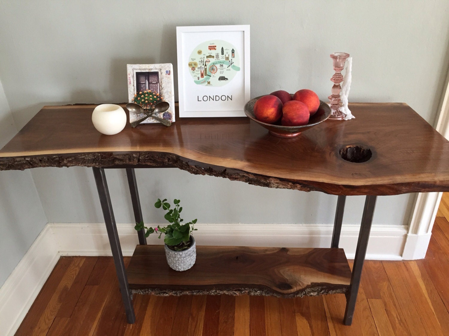 Live edge console table black walnut sofa table entryway table zoom geotapseo Choice Image