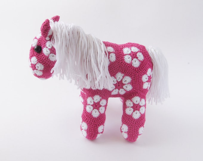 Crochet Toy Amigurumi Horse Pony African Flower Animal Stuffed Toy Present Gift for Boy Girl Baby Shower Custom Color Handmade