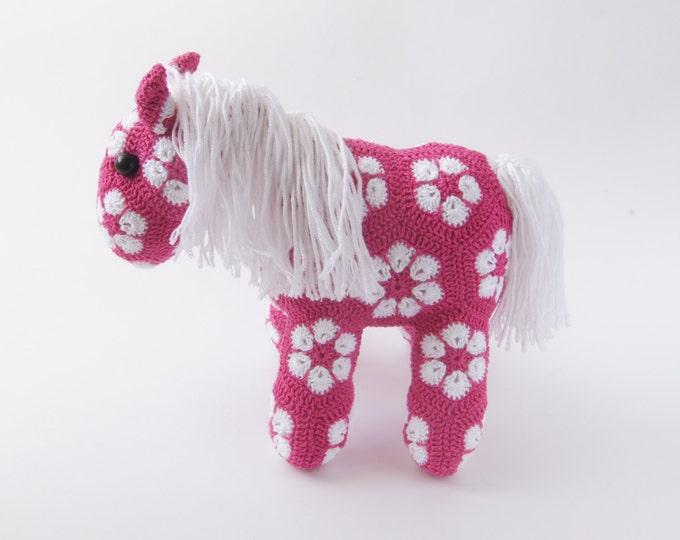 Crochet Toy Amigurumi Horse Pony African Flower Animal Stuffed Toy Present Gift for Boy Girl Baby Shower Custom Color Handmade