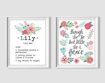 Girls digital print set, personalized name meaning, though she be but little she is fierce, nursery decor, floral, digital print, girls room