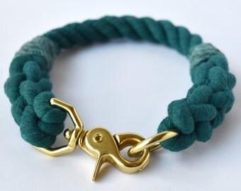Custom Teal Rope Dog Collar