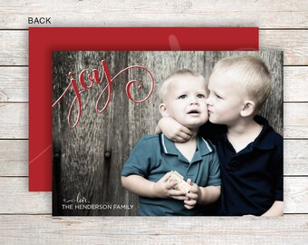 Custom Printed Joy Photo Christmas Holiday Card