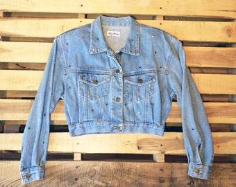 Women's Vtg M <> Cropped Denim Jean Jacket <> 80s 90s PARIS BLUES <> Bedazzled Bejeweled <> Glam