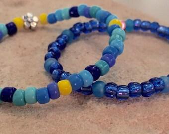 Blue bracelets for children, gift for child, Czech glass seed bead bracelet for child, stretch bracelet, elastic bracelets for kids