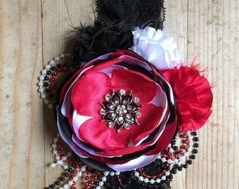 Red, Black And White Headband, Flower Headband, Vintage Chic Headband, Couture Headband, Vintage Headband, OTT Headbsnd, Photo Prop