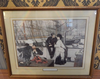 A lovely Vintage Picture in Frame, Shabby chic, Retro , boho, nautical picture