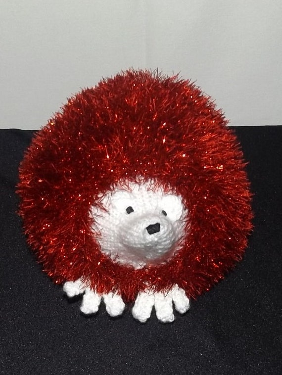 Stuffed Hedgehog Knitting Pattern : Large Red Sparkly Hedgehog Hand knitted Stuffed Toy by ...