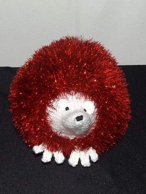 Sparkly Hedgehog Knitting Pattern : Large Red Sparkly Hedgehog Hand knitted Stuffed Toy by ...