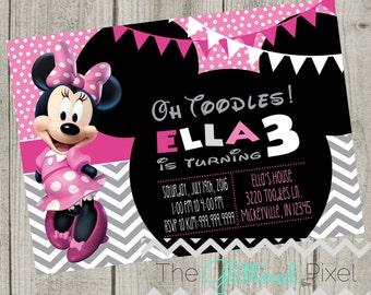 Printable Minnie Mouse Birthday Invitation - Pink & White Invitation - Minnie Invitation - Disney Invitation