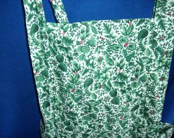 Green Leaf Print Bib Apron