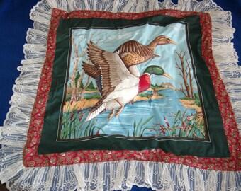 Flying Pair of Mallard Duck Pillow Top