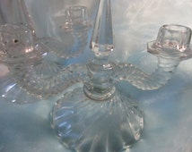 Set of 2 Double Colony by Fostoria (Foscolo) Stem #2412. Clear Crystal Glass, Heavy Swirl Pattern Candlesticks, Discontinued Pattern