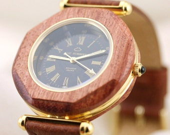 5 year anniversary wood, Wood watch, Wood watch men handmade, Wooden Watch, Brown watch, Unique mens watches Brown leather, Gold, Black dial