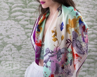 Monkey Silk Scarf, silk shawl, silk wrap, Wearable art scarf, square silk scarf, luxury silk scarf, gift for her, flower scarf, designer