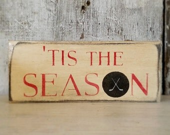 Hockey Sign, Rustic Hockey Sign, Hockey Skates, Tis the Season, Primitive Sign, Painted Hockey Sign, Rustic Sport Sign, Wood Hockey Sign