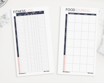 Filofax PERSONAL Fitness Set Printable Inserts Refills - also fits kikki.K Time Planner MEDIUM - (Audrey Collection)