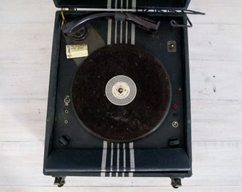 vintage black and white portable electric record player, decor only
