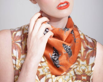 Bee Silk Scarf - Bee Accessory - Small  Scarf - Printed Silk - Gifts For Her - Orange Scarf - Bag Scarf - Neckerchief - Hand Rolled Hem