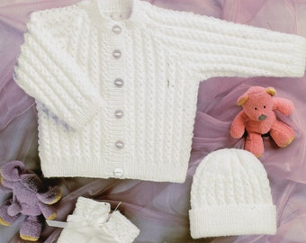 Baby KNITTING PATTERN pdf baby cardigan knitting pattern hat bootees mitts baby set premature newborn 12-22 inch 4ply pdf instant download