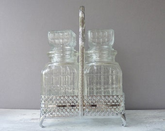 Vintage Decanter Set - Two Glass Decanters with Silver Metal Caddy & Fork, Made in England