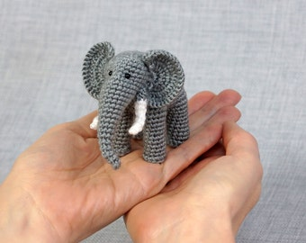 Miniature elephant, crochet realistic elephant, amigurumi animal, little stuffed elephant - Eli the Elephant