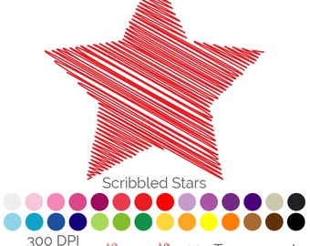 Star Scribbles 28 Colours Clip Art Scribbled PNG JPEG Commercial Use Scrapbooking Instant Download