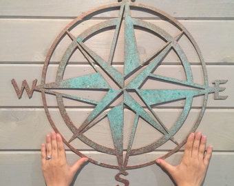 "Nautical compass- 22""- Saltwater Art- Pirate Decor- Fixer Upper- Man Cave Decoration- Beach Decor- Boat Dock- Boys Room- Sailing Decor-"