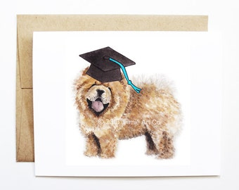 Graduation Card - Chow Chow, Grad Card, College Graduation, High School Grad, Congrats Grad, Congrats Card, Cute Animal Card, Chow Chow Card