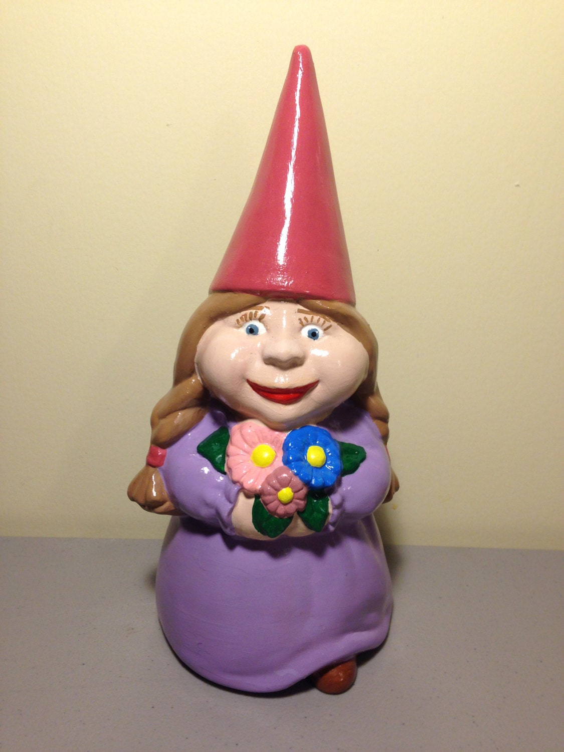Gnome In Garden: Large Ceramic Female Gnome Statue