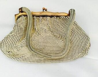 Vintage Whiting & Davis Elegant Creme Mesh Evening Handbag