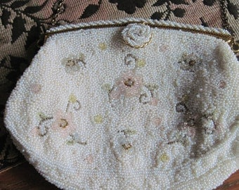 Vintage Handmade Beaded French Purse Handbag Evening Bag