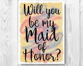 Printable Will You Be My Maid of Honor card, Matron of Honor Proposal Will You Be my Matron of Honor DIY - Instant donwload Last minute