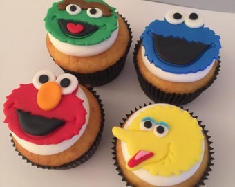 12 Sesame Street Cupcake Toppers-Fondant