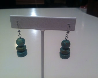 Vintage Silver, Turquoise Dangle Earrings