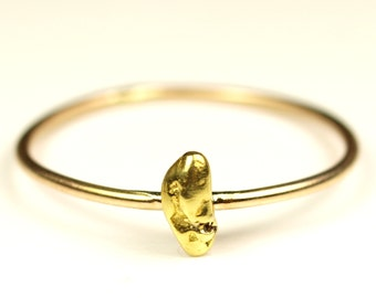 Natural Gold Nugget Ring with 14k Gold Band Size 8