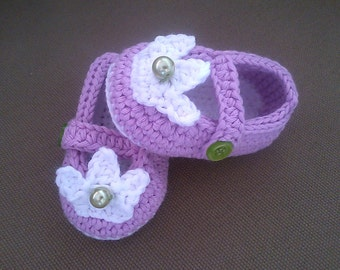 Crochet Baby Booties, Crochet Princess Booties, Baby Girl Booties, Crochet Shoes, Violet Baby Shoes, Crochet Slippers, Baby Slippers