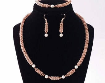 ON SALE -  Rose gold and white pearl full persian chainmaille jewelry set