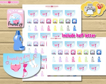 Wash Machine Laundry day Planner Stickers, Cartoon Laundry Printable stickers for Erin condren ...