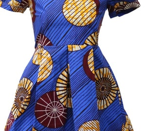 Cute lil girl african print ankara flare dress