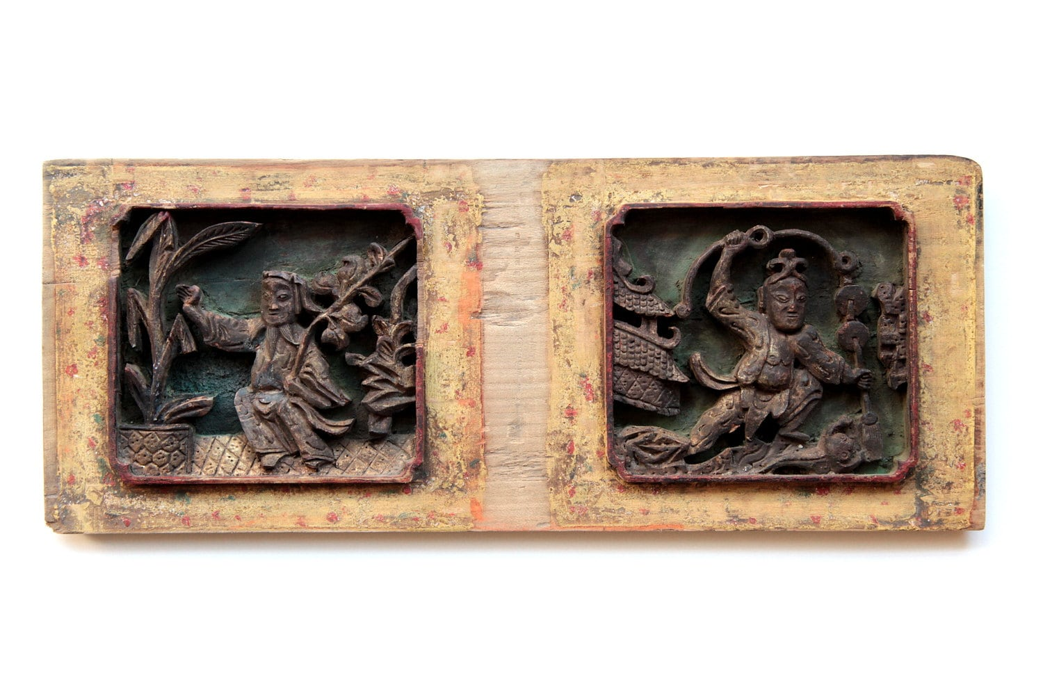 Carved wood panel art of two chinese characters