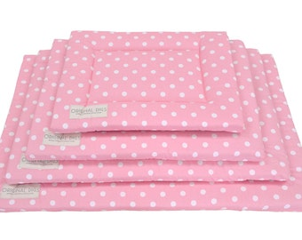 Dog Kennel Pad or Cat Mat, Crate Mat Sizes for Small Dog Bed to XL Dog Bed, Pink and White Pet Bed Furniture with Water Resistant Bottom