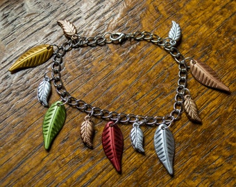 Multi colored leaf charm silver chain bracelet in earth tones