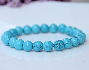 Bracelet for mom Turquoise Bracelet Turquoise Jewelry gemstone Bracelet Womens Bracelet Blue Stretch Bracelet Bead Bracelet Natural bracelet